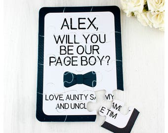 Small ring bearer/page boy proposal bow tie personalised jigsaw puzzle