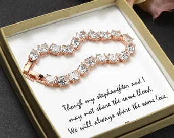 Gift for daughter in law wedding gift from mother in law to daughter in law rose gold bracelet necklace earrings bridal wedding jewelry set