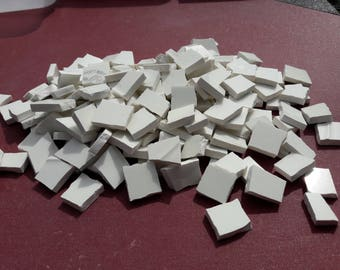 Hand Cut White Infill Mosaic Tiles from 60's Royal Art Pottery Plates x190 Pieces