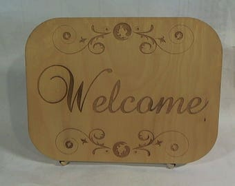 Laser cut etched Welcome sign with matching stand wood desk wedding sign