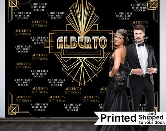 Roaring 20's Personalized Photo Backdrop -Great Gatsby Birthday Photo Backdrop- Step and Repeat Photo Backdrop, Art Deco Photo Backdrop