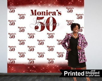 Fabulous 50 Personalized Photo Backdrop -Red Photo Backdrop- 50th Birthday Photo Backdrop - Printed Photo Booth Backdrop, Vinyl Backdrop