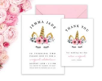 Unicorn Invitations | Unicorn Party Invitation AND Thank You Card | Little Girls Birthday Invitation | Magical Party | Unicorn Invite