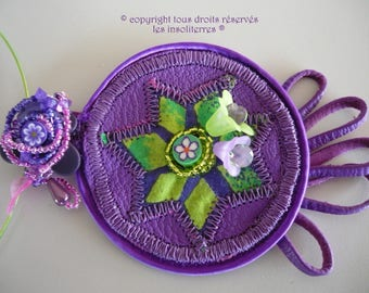 Flower necklace green Purple Purple genuine leather stitched romantic purple Indian fabric anise
