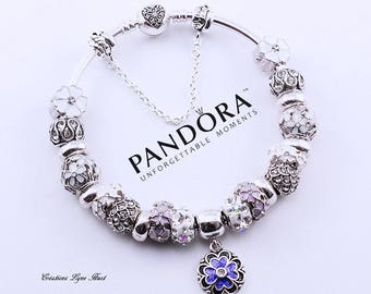 Special Edition - PANDORA Rigid Sterling Silver Bracelet (8.3 '') with all the charms and gift box Special Edition!