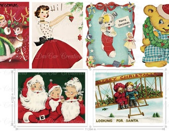 12 Vintage Style Christmas Cards - Set of 12 with Envelopes