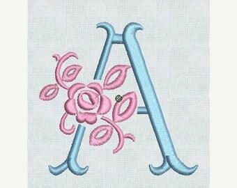 HUGE SALE Instant Download Embroidery Machine Fonts Fancy Floral Alphabet Designs Alphabet Pes Format Rose Alphabet Roses Embroidery Design