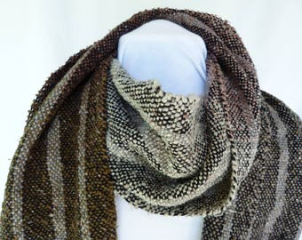 Handwoven Gray and Black Gradient Striped Souk Yarn Scarf