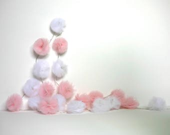 20 Led - Light string with tassels in pale pink and white tulle