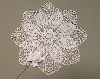 Crochet iVORY Doily #2, Ashes of roses, White  Wedding Doily, Black New Hand Crochet Doily, Round Doily, Crochet Lace Doily