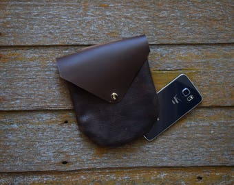 Handmade Leather Belt Pouch - Brown