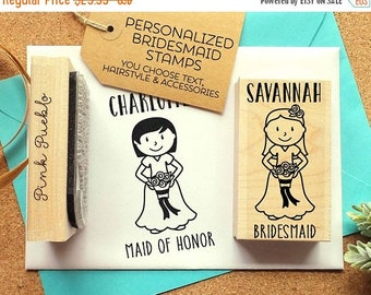 BACK TO SCHOOL Sale Personalized Bridesmaid Gift, Personalized Bridesmaid Stamp, Bridesmaid Proposal Stamp - Choose Hairstyle and Accessorie