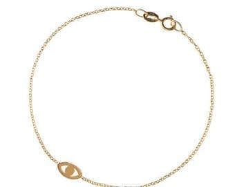 ON SALE 14k gold mini evil eye bracelet