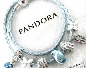 Authentic Pandora, Sterling Silver,Leather Bracelet,Genuine Pandora, Pandora Leather Wrap,with Non Branded Beads/Charms LB