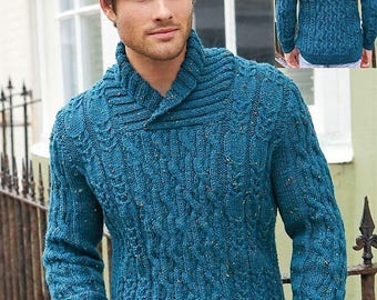 Knitting Pattern Men's Aran Knit Sweater 32 to 54 inch chest