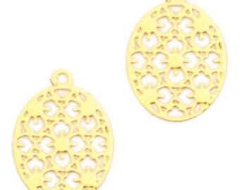 Bohemian Pendant-4 pcs.-15 mm-oval shape-color selectable (color: Gold)