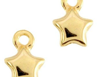 """DQ Metal Pendant """"Stern""""-3 pcs.-12 x 9 mm-Zamak, silver plated or gilded-European designer quality-color selectable (color: Gold)"""