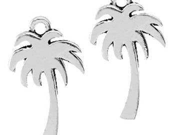 """Metal pendant, Charm """"palme""""-3 pieces-18 x 10 mm-Antique Silver"""