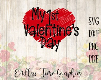 My 1st Valentine's Day SVG. Valentine's Day Cut File. SVG Cut File. Heart Svg. Heart Clipart. Shirt Decal. Baby Bodysuit Decal. My First 327