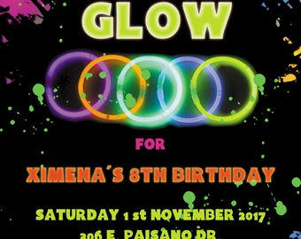 NEON GLOW PARTY Invitation Personalized, Custom, You Print as many as u need digital