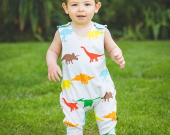 READY TO SHIP baby romper, baby clothes, baby dungarees, dinosaurs romper, dinosaurs , organic baby clothes, baby gift, newborn, baby shower