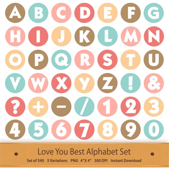 Valentine Digital Alphabet Love Printable Letter Love Clipart