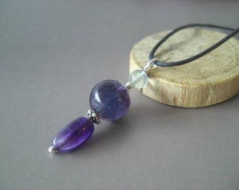 Blue Fluorite pendant and purple, silver