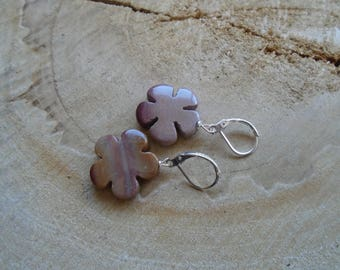 Earrings Jasper mookaite and sterling silver / * my little ' small pink flowers *.