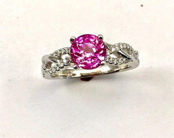 Pink Sapphire (not heat treated) 1.77 ct. in 14k white gold.
