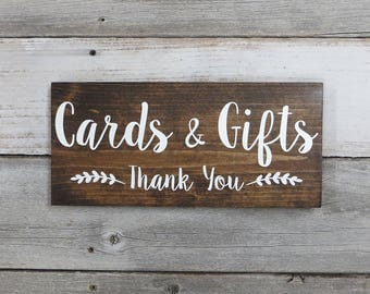 """Rustic Wood Wedding Sign """"Cards & Gifts - Thank You"""" - Wedding Decoration - Gift Table Sign - 12""""x5.5"""" - Dark Walnut or Gray"""