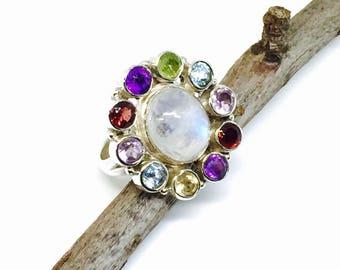 Rainbow moonstone garnet, peridot, amethyst  multigemstone ring set in sterling silver (92.5). Size-7,8. Natural genuine stones.