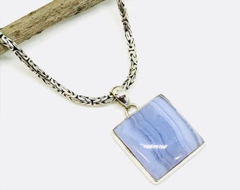 Bluelace agate pendant, necklaces set in sterling silver 92.5. Genuine natural stone. Length- 1.35 inch long.