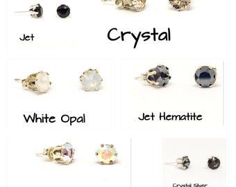 Swarovski stud earrings, Crystal earrings, Black earrings, 6mm stones, everyday earrings, dainty earrings, sterling silver
