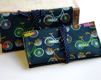 """Handmade """"Vintage Bikes"""" Cotton Fabric Tobacco Pouch