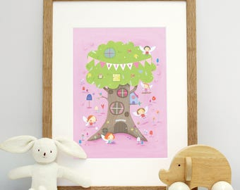 Personalised Fairy And Tree Mounted Print
