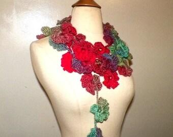 On Sale- Red Flower Scarf Lariat Festival Crochet Green Summer Infinity Necklace  Floral Leaf Freeform OOAK Extra Long Skinny