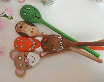 Gruffalo story, spoons, puppets, wooden spoons, teaching aid, learning aid, teaching tools, learning to read, kids tools, reading activities