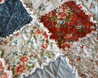 Flowers of Provence Medium Rag Quilt Throw - Blues and Dusty Rouge