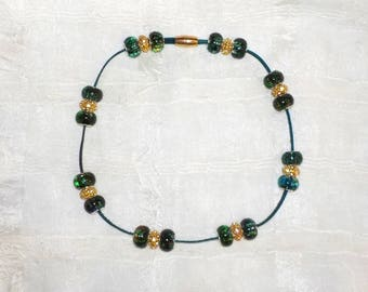 Teal Colored Genuine Leather Beaded  Dog ~ Cat Collier (Gold Rhinestone and Green Swirl Bead Necklace)