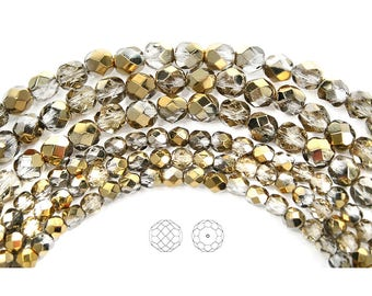 Crystal Aureate (Aurum) Half coated, Czech Glass Fire Polished Round Faceted Beads, 16 inch strands, in 3mm, 4mm, 6mm, 8mm and 10mm size