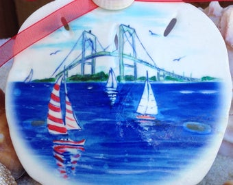 Newport, RI sand dollar ornament. Handmade by me from my art. Can be personalized. Souvenir, gift, wedding or party favors.