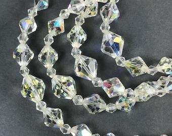 Vintage AB Crystal Necklace 4 tier