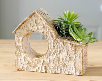 Decorative Faux Succulent Arrangement In Birch House Planter   Artificial Succulent Table Centre   Hand-Made By UK Florist