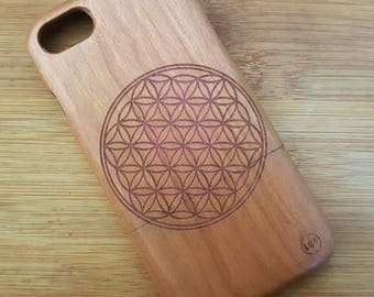 iPhone 7 Cherry Wood Phone Case Custom Design 'Flower of Life' Natural  with RED engraving