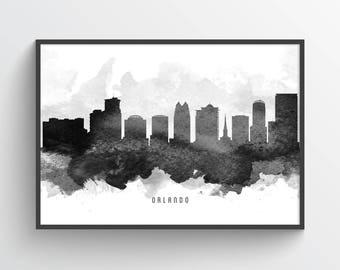 Orlando Florida Skyline Poster, Orlando Art Print, Orlando Cityscape, Orlando Art, Orlando Decor, Home Decor, Gift Idea, USFLOR11P