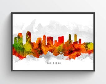 San Diego California Skyline Poster, San Diego Cityscape, San Diego Art, San Diego Decor, Home Decor, Gift Idea, USCASD15P