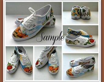 Size 8.5 Bride's Love Story Wedding Shoes, Custom Hand Painted Vans, Unique Wedding Shoes Custom VANS, Wedding Flats, Painted Wedding Shoes