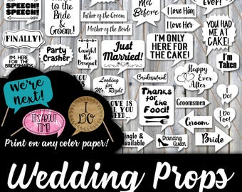 Wedding Photo Booth Prop Signs and Decorations -  Black Printable Wedding PhotoBooth Props - Over 50 Images - Print on any Color Paper