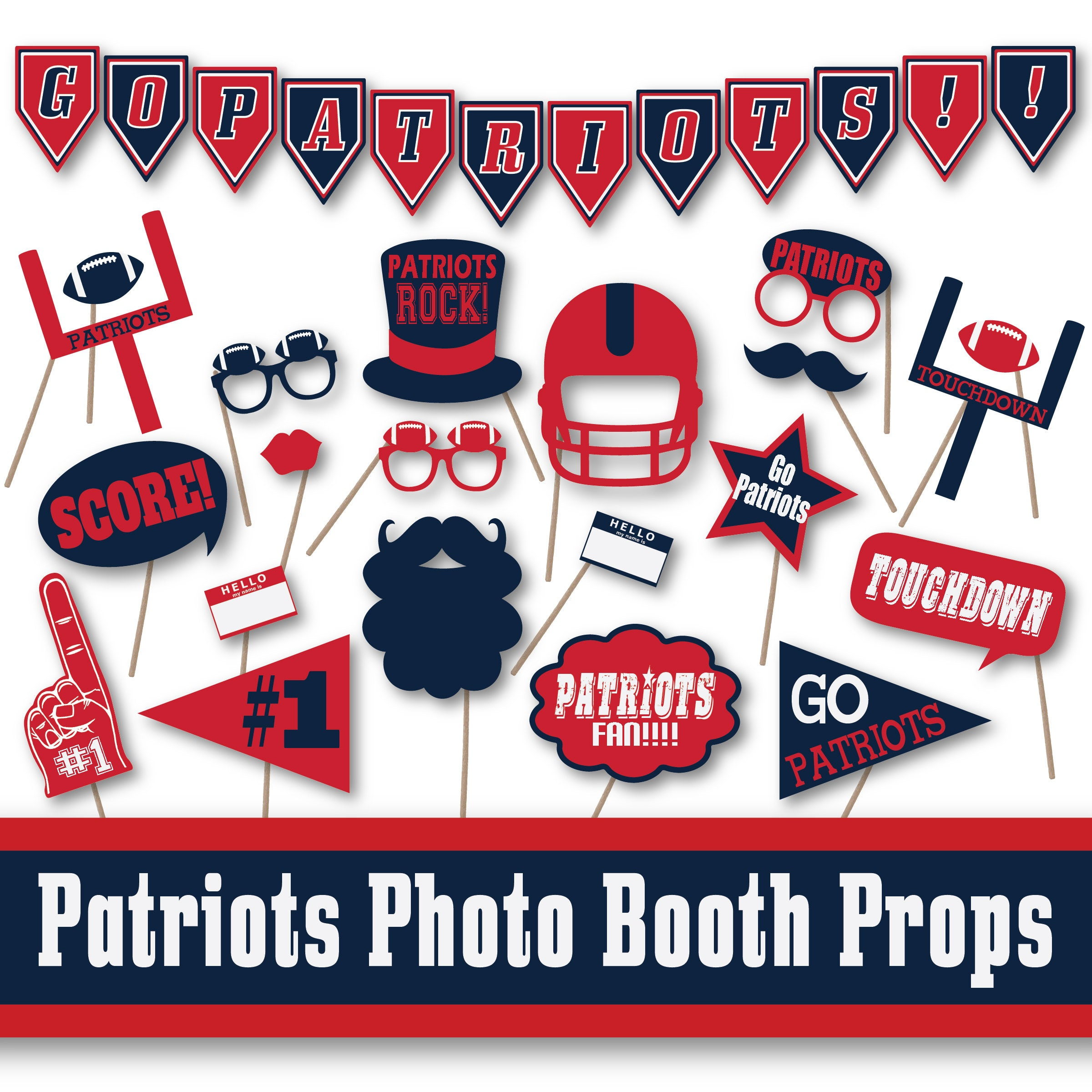 Super Bowl Party Decorations Uk: Patriots Football Photo Booth Props And Party Decorations