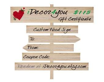 Valentine's Day Gift Certificate for Custom Wood Sign, Printable Gifts Card for Her, Gifts for him, Last Minute Gitf idea